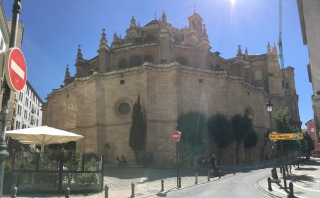 A panoramic of a beautiful building. I think it was a fort at some point.